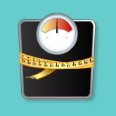 Weighing scales and measuring tape