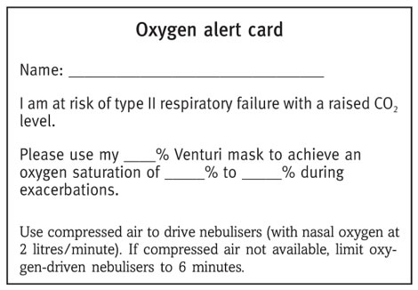 A patient oxygen alert card
