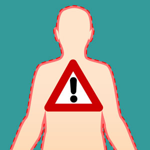 Cartoon image of body with alert sign