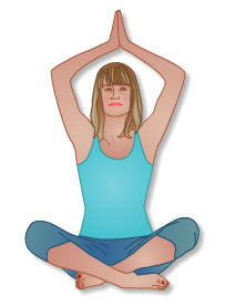 Cartoon image of a lady in a yoga pose
